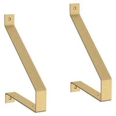 8.19 in. Painted Brushed Brass Steel Rustic Decorative Shelf Bracket (2-Pack)