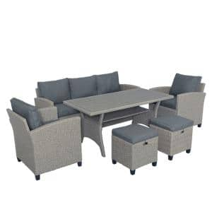 Gray 6-Piece Rattan Wicker Outdoor Patio Garden Backyard Sectional Sofa with Gray Cushions