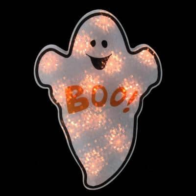 12 in. White Holographic Lighted Ghost Halloween Window Silhouette