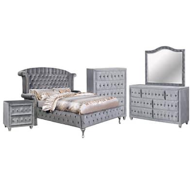 Alzir Gray Queen Platform Bed with Chest (5-Piece)