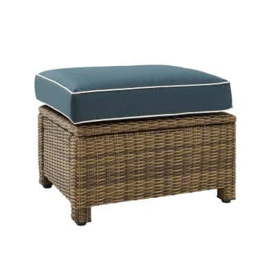Bradenton Weathered Brown Wicker Outdoor Ottoman with Navy Cushions