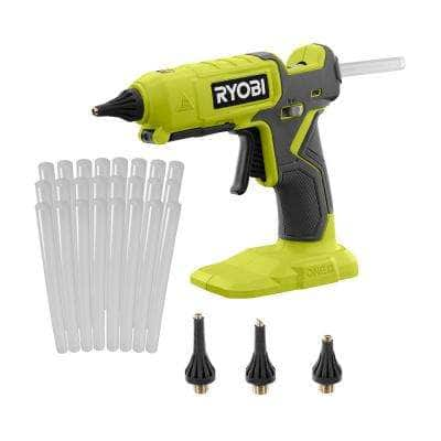 ONE+ 18V Cordless Dual Temperature Glue Gun (Tool Only) with 3-Piece Glue Gun Nozzles and 24-Pack 1/2 in. Glue Sticks