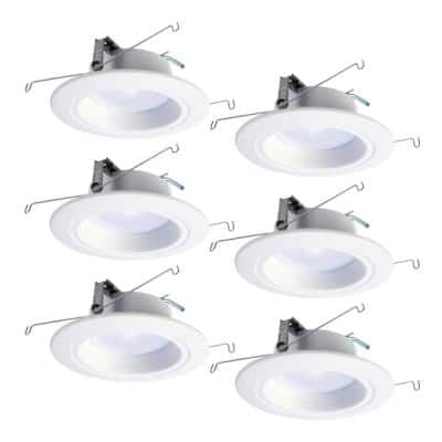 RL 5 in. and 6 in. Selectable CCT 940 Lumen Integrated LED White Recessed Ceiling Light Trim Extra Brightness (6-Packs)