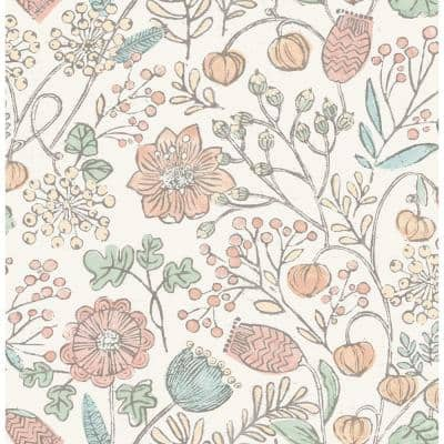 Pastel Southern Trail Pinks Vinyl Peel & Stick Washable Wallpaper Roll (Covers 30.75 Sq. Ft.)
