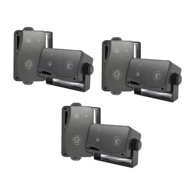 3.5 in. 3-Way Weatherproof Marine Audio Speakers, Black (3-Pair)