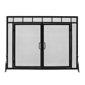 44 in. L Matte Black 1-Panel Sidelight Classic Fireplace Screen with Doors