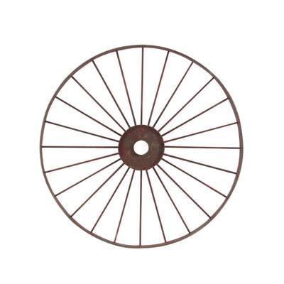 46 in. x 4 in. Brown Iron Farmhouse Distressed Wheel Arbor