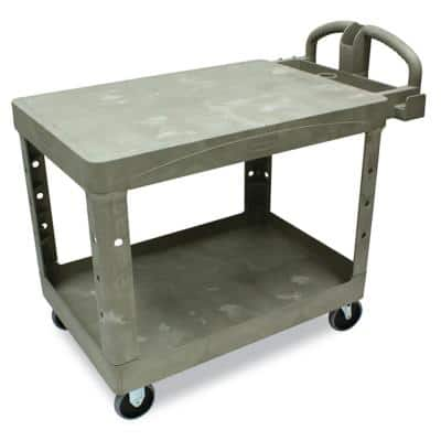 Heavy Duty Beige 2-Shelf Utility Cart with Flat Shelf in Medium