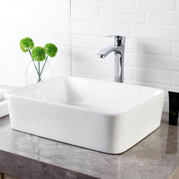 Lordear 19 In X 15 In Bathroom Vessel Sink And Faucet Combo Modern Rectangle In White Porcelain Ceramic Vessel Vanity Sink Lmp18001 Ss The Home Depot