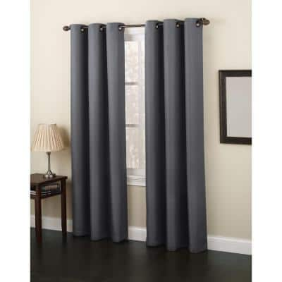 Charcoal Solid Grommet Room Darkening Curtain - 48 in. W x 84 in. L