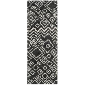 Belize Shag Charcoal/Ivory 2 ft. x 7 ft. Tribal Geometric Runner Rug