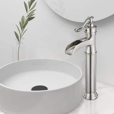Single Handle Single Hole Bathroom Faucet with Drain Kit Included in Brushed Nickel for Vessel Sinks(Valve Included)