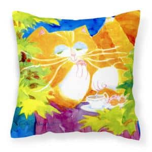 14 in. x 14 in. Multi-Color Lumbar Outdoor Throw Pillow Cat Tea Time Decorative Canvas Fabric Pillow