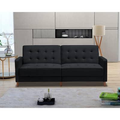34 in. H x 78 in. W Black Modern Velvet Upholstered Sofa Bed