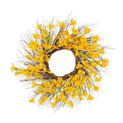 24 in. D Artificial Winter Jasmine Wreath
