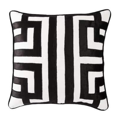 Ordella White/ Black Geometric Poly Throw Pillow 22 inch