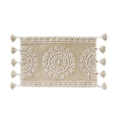 Medallia 20 in. x 30 in. Natural Cotton Bath Rug