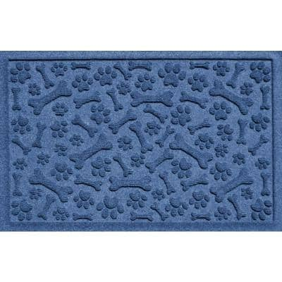Paws and Bones 17.5 in. x 26.5 in. Navy PET Polyester Mat