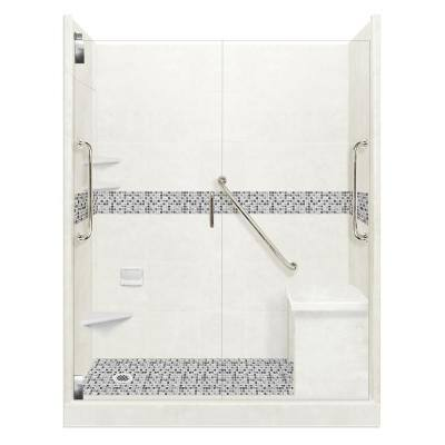 Del Mar Freedom Grand Hinged 30 in. x 60 in. x 80 in. Left Drain Alcove Shower Kit in Natural Buff and Chrome Hardware
