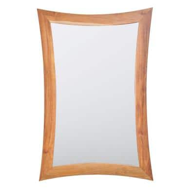 Curvature 24 in. W x 35 in. H Framed Rectangular Bathroom Vanity Mirror in Natural