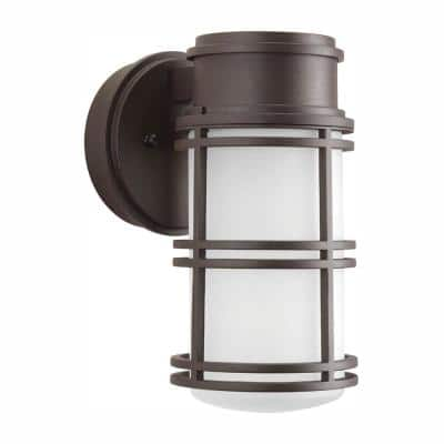 Bell LED Collection 1-Light Antique Bronze Etched Glass Craftsman Outdoor Wall Lantern Light