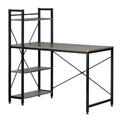25.6 in. Rectangular Oak Camel/Black Computer Desks with Bookcase