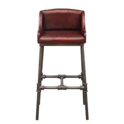38 in. Brandon Industrial Leather Bar Stool