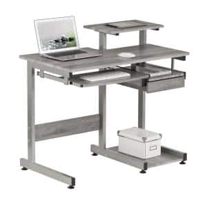 38 in. Rectangular Gray 1 Drawer Computer Desk with Keyboard Tray