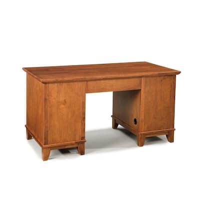 Arts and Crafts 58 in. Rectangular Oak 5-Drawer Computer Desk