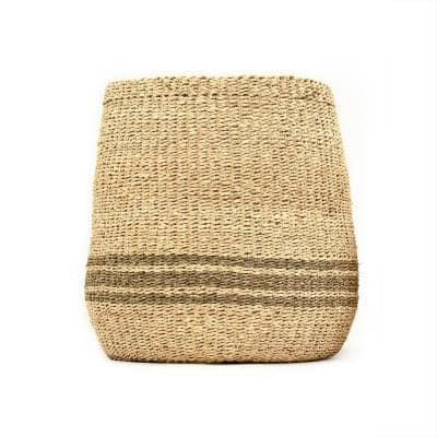 Concave Hand Woven Wicker Seagrass and Palm Leaf with Dark Pin Stripes Large Basket