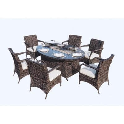 Neo Brown 7-Piece Wicker Oval Outdoor Gas Fire Pits Sectional Seating Set with Beige Cushion