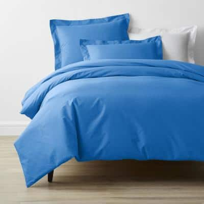 Company Cotton Percale Delft Blue Solid Full Duvet Cover