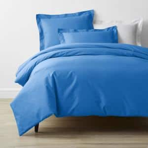 Company Cotton Percale Delft Blue Solid Twin Duvet Cover