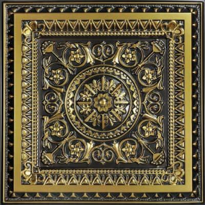 La Scala Antique Brass 2 ft. x 2 ft. PVC Glue-up or Lay-in Ceiling Tile (100 sq. ft./case)