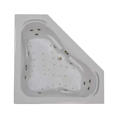 60 in. Corner Drop-in Air and Whirlpool Bath Bathtub in White