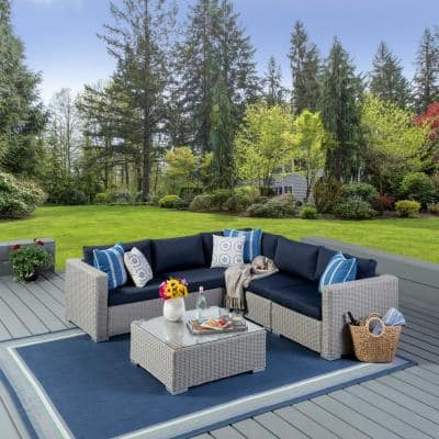 Santa Rosa Chalk Gray 6-Piece Wicker Patio Sectional Seating Set with Navy Blue Cushions