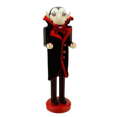 14 in. Black and Red Dracula Wooden Halloween Nutcracker