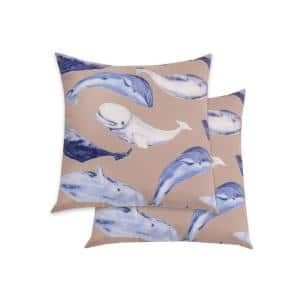 Seascape Khaki and Midnight Square Outdoor Throw Pillows (2-Pack)