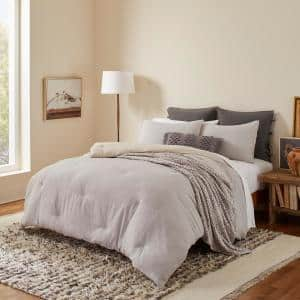 Washed Cotton Reversible 3-Piece Grey Solid Cotton King Comforter Set