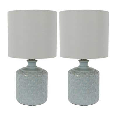 Della 17 in. Soft Blue Ceramic LED Table Lamps with Shade (Set of 2)