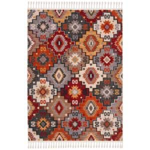 Farmhouse Grey/Red 5 ft. x 7 ft. Abstract Area Rug