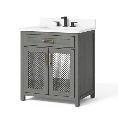 Erinton 30 in. W x 21 in. D Vanity in Antique Grey with Engineered Stone Vanity Top in White with White Basin