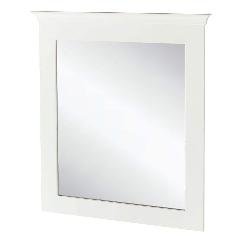 Home Decorators Collection 30 In W X 34 In H Framed Rectangular Bathroom Vanity Mirror In Classic White 19evm3034 The Home Depot