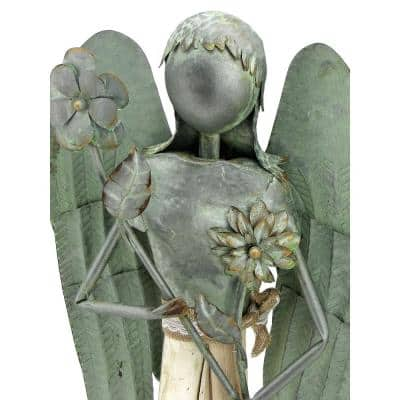40 in. Tall Green/Galvanized Steel and Wood Angel Garden Statue