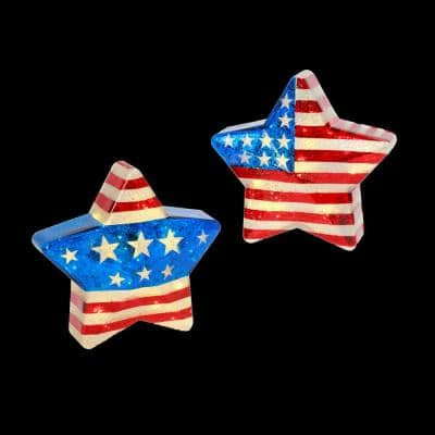 Assorted Battery-Operated Multi-Color Mercury Glass Americana Stars with Timer Feature (Set of 2)