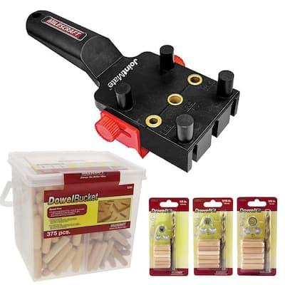 Doweling Bundle with Handheld Dowel Jig, Dowel Pins and Dowel Kits (1-Pack)