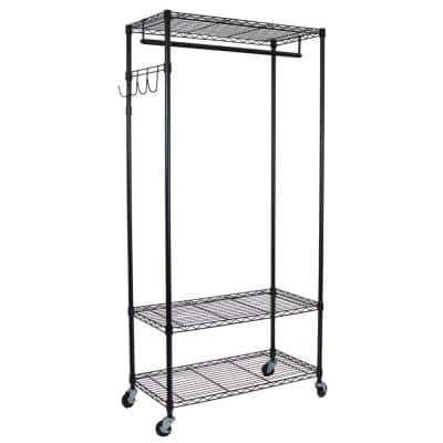 Heavy Duty Black Steel Adjustable Clothes Rack with Hooks (35 in. W x 75 in. H)