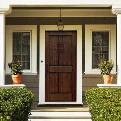 Rustic Mahogany Type Prefinished Distressed Solid Wood Speakeasy Prehung Front Door