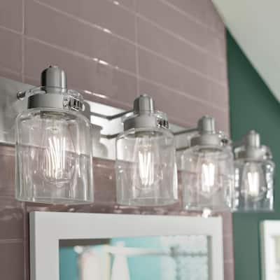Calhoun Collection 4-Light Brushed Nickel Clear Glass Farmhouse Bath Vanity Light