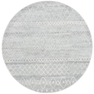 Madison Silver/Ivory 4 ft. x 4 ft. Round Geometric Area Rug
